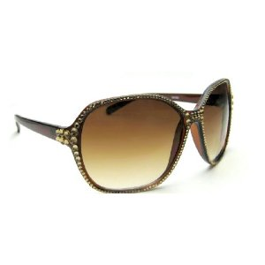 Celebrity Style Womens Sunglasses Brown with New York Swarovski Crystallized side Celebrity Style Womens Sunglasses Brown with New York Swarovski Crystallized
