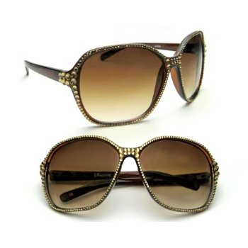 Celebrity Style Womens Sunglasses Brown with New York Swarovski Crystallized two Celebrity Style Womens Sunglasses Brown with New York Swarovski Crystallized