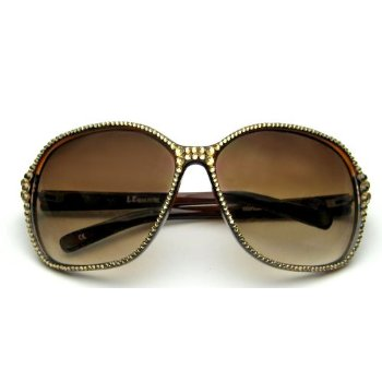 Celebrity Style Womens Sunglasses Brown with New York Swarovski Crystallized view Celebrity Style Womens Sunglasses Brown with New York Swarovski Crystallized