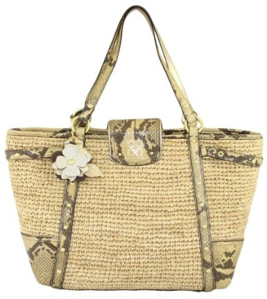 Limited Edition Straw Natalie Shopper Bag Tote with Natural Python Embossed Trim front Limited Edition Straw Natalie Shopper Bag Tote with Natural Python Embossed Trim