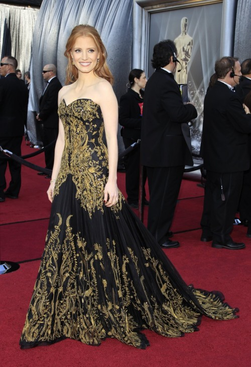 Oscars Red Carpet 2012 for Best Dressed and Biggest Trends jessica chastain 500x732 Oscars Red Carpet 2012 for Best Dressed and Biggest Trends