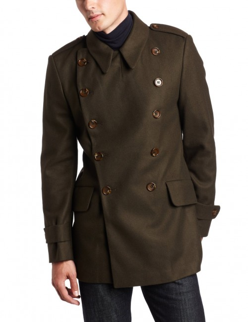 French Connection Wool Coat with Military Mens Style brown front 500x649 French Connection Wool Coat with Military Mens Style