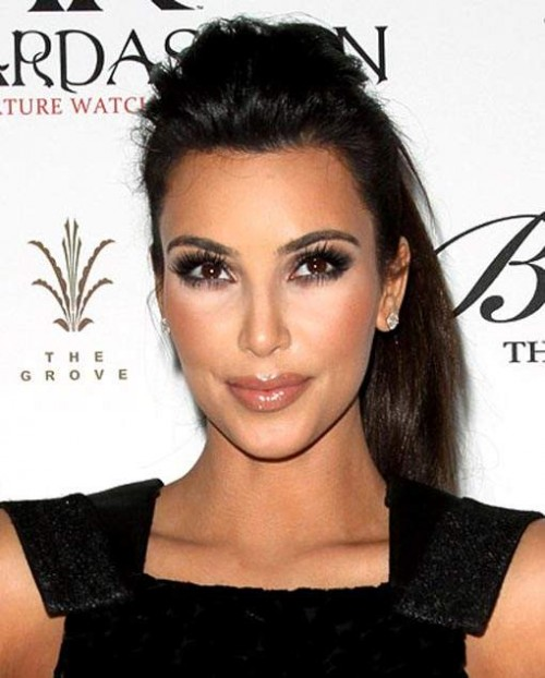 Kim Kardashian Long Hairstyle for 2012 Pompadour Pony 500x622 Kim Kardashian Long Hairstyle for 2012