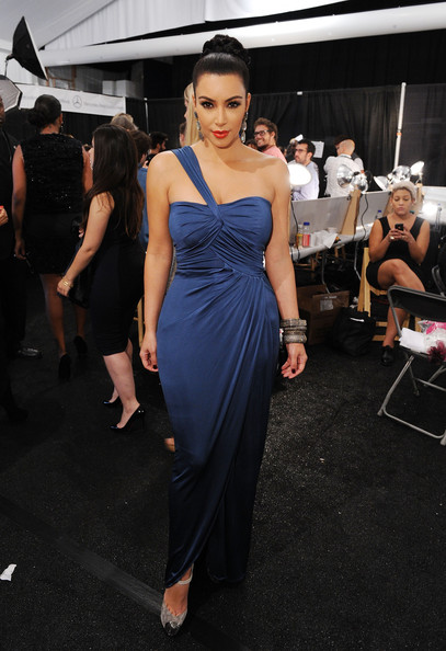 Kim Kardashian Style with Blue Dress at Fashion Week 2012 full front Kim Kardashian Style with Blue Dress at Fashion Week 2012
