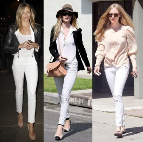 Celebrity casual fashion white jeans 2011 Celebrity Casual Fashions White Jeans for Your Fashion Inspiration