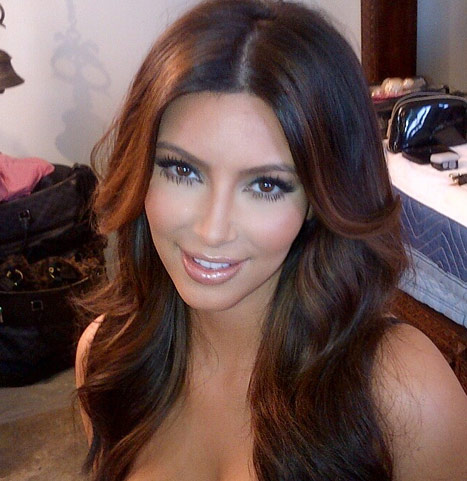 kim kardashian hair blonde highlights Kim Kardashian