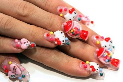 3d nails hello kitty1 3D Nails Style a La Japanese Girl