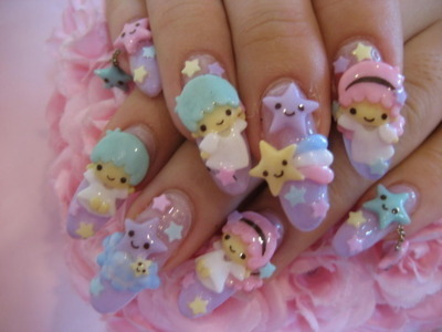 3d nails tumblr1 3D Nails Style a La Japanese Girl