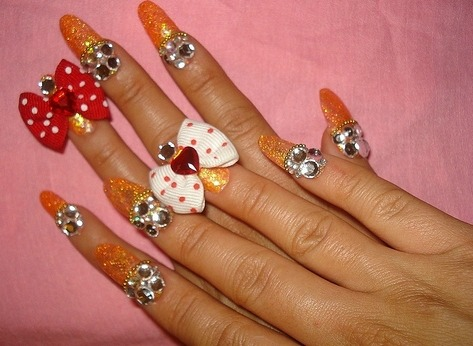 3d nails with bows1 3D Nails Style a La Japanese Girl