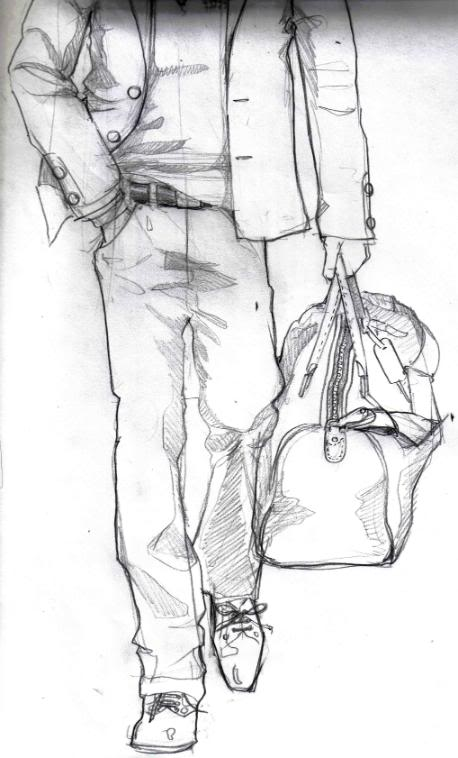 Fashion Male Sketch with Bag Fashion Male Sketch Will Make Gentlemen More Stylish
