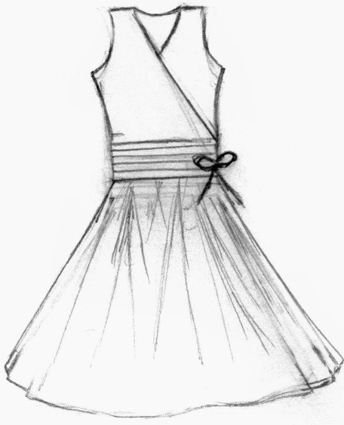 As with anything, there is plenty of ways to draw a dress for figures of the female gender. One of the three more popular styles of dresses is a long gown style, a thigh high length dress, and a knee high ruffled dress that is commonly used for dancing and such.