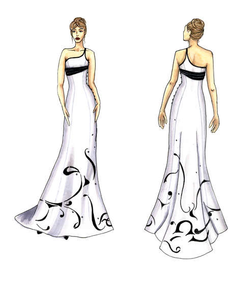 White Dresses Sketches Design Dresses Sketches Design for Wedding or Party