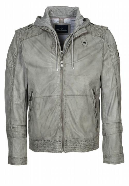 Perfect Topper for Spring: Grey Leather Jacket